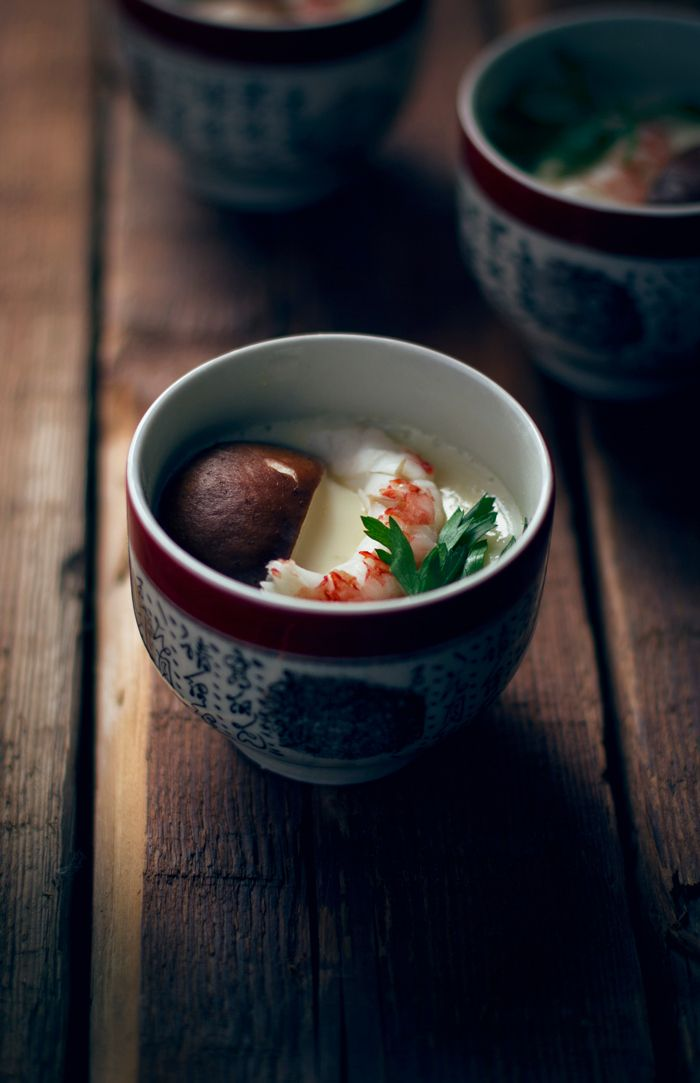 Japanese dish, Chawan-mushi - savory steamed egg custard with assorted ingredients 茶碗蒸し