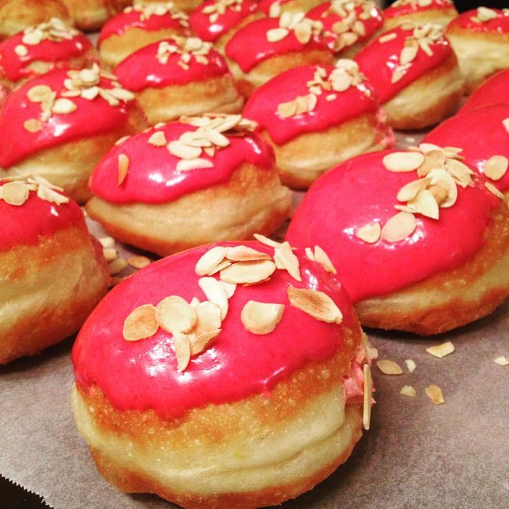 Cherry and almond also available today, get yourselves over to @kofra_coffee @franksbar @lrrnorwich @milkandmosscoffee @thesirgarnet @birdcagenorwich and @radleyssalhouse for a taste! #cherry #almond #doughnuttime