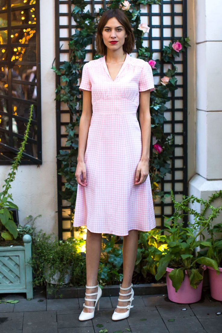 Alexa Chung in a pink gingham dress