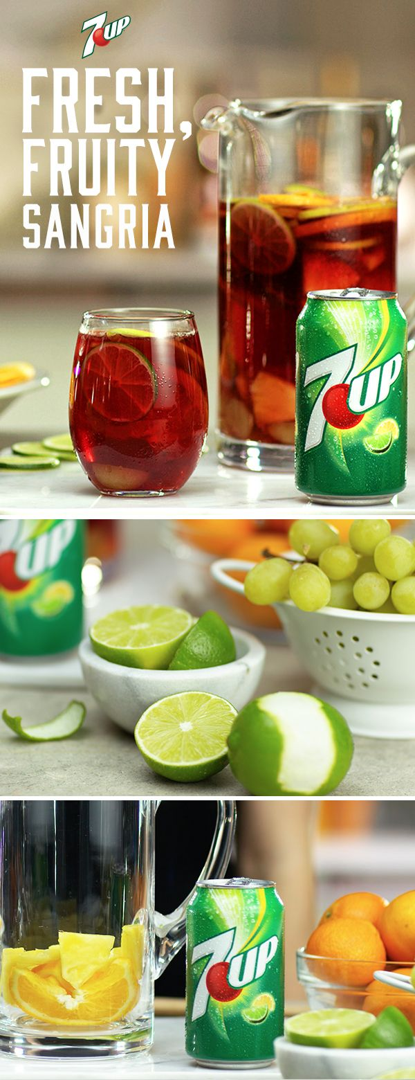 The 7UP Sangria is made for backyard parties, picnics, and anywhere else you need a pitcher of fruit-infused refreshment. The 7UP Sangria is made for backyard parties, picnics, and anywhere else you need a pitcher of fruit-infused refreshment. Must be 21+ Please drink responsibly. Age Verification Required.