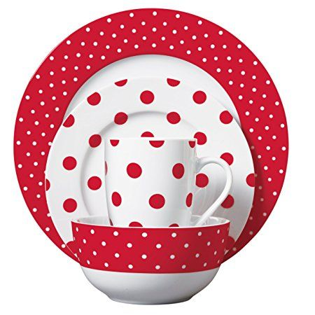 Isaac Mizrahi Dot Luxe 16 Piece Porcelain Dinnerware Set Red and White  sc 1 st  Pinterest & 336 best WHITE With RED images on Pinterest | Dots Polka dots and ...