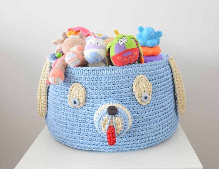 Toy basket dog Crochet dog Crochet basket dog Nursery basket Toy bag Storage basket Storage bag Blue basket Big basket Children gift by CrochetedVirvius on Etsy