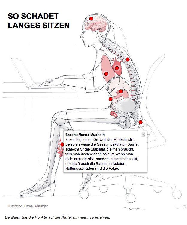 Langes sitzen schadet der Gesundheit. Interaktive Grafik - funktioniert nur über Link! http://www.welt.de/gesundheit/article130891138/Sitzen-gefaehrdet-Ihre-Gesundheit.html