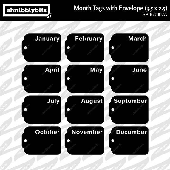 4 Sets of Month Tags with Folder 2.5x3.5