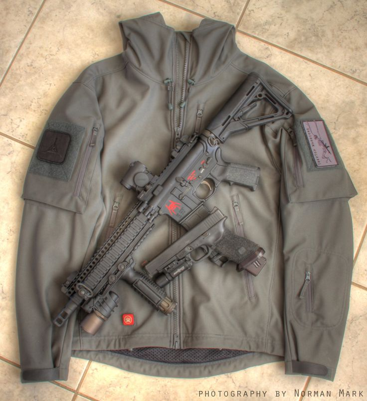 TAD Gear Spectre Hoodie LT Jacket with Spike's Tactical SBR and Glock 34
