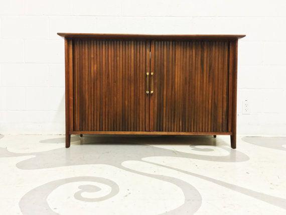 mid century modern media cabinet in walnut with tambour door in great original condition