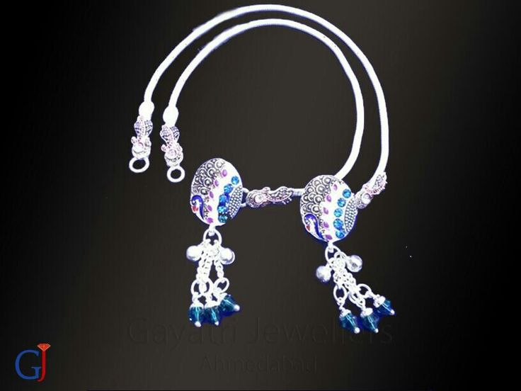 Trending silver brooch payal ,peacock design with meenakari and stone work  #traditional #Silver #jewellery #gj #anklets