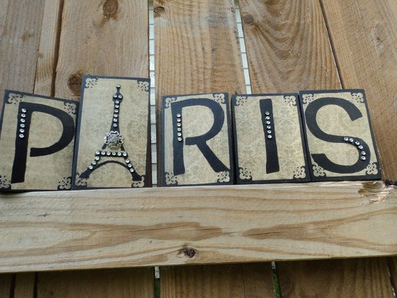 Paris Decor Blocks Sign Black  Fernch by AlmaSweetHeartDeals, $23.00