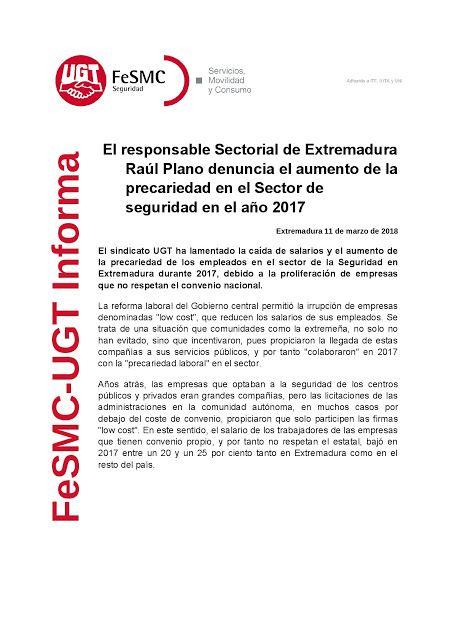 SECCIO SINDICAL UGT SECURITAS CATALUNYA: El responsable Sectorial de Extremadura Raúl Plano...