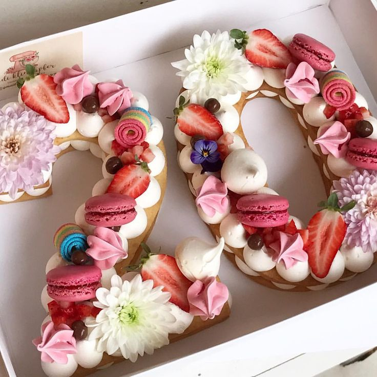 Happy 20th Birthday! Flower And Macaron Birthday Cake