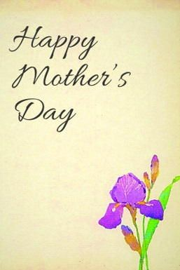 Painted Iris Free Printable Mother's Day Card
