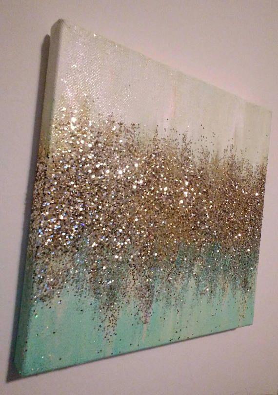 Handmade Abstract Glitter Painting Custom Modern Chic Home Decor Mint Blue Green Gold