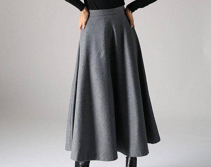 new arrival bd1f8 50089 Maxi Wool skirt, maxi skirt, gray skirt, wool skirt, pleated ...