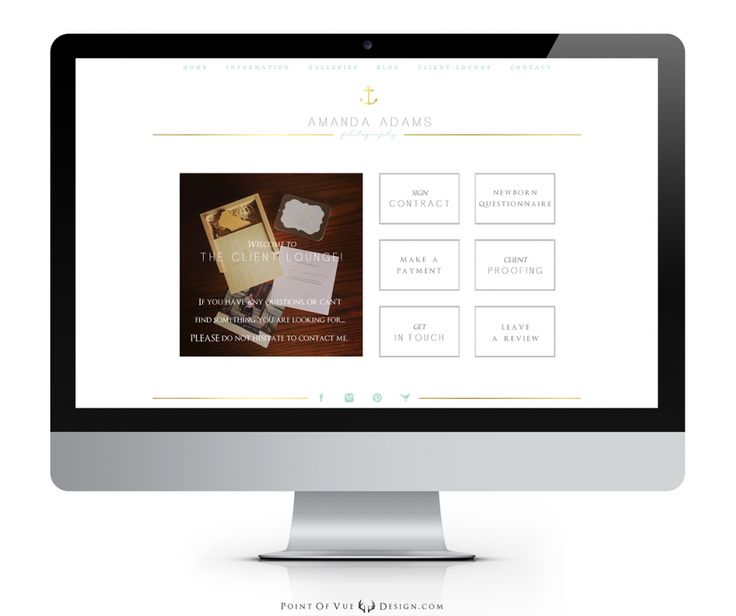 Amanda Adams Custom Logo Design, Custom Prophoto Blog website design, custom branding, nautical, anchor, gold foil, luxury custom branding, client lounge  Point of Vue Design