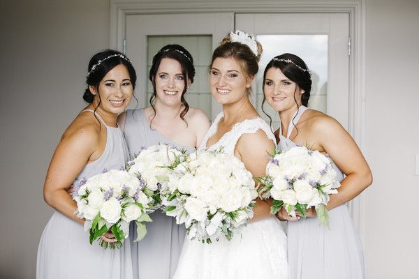 Stephie and her bridesmaids all wearing Natalie Chan bespoke gowns