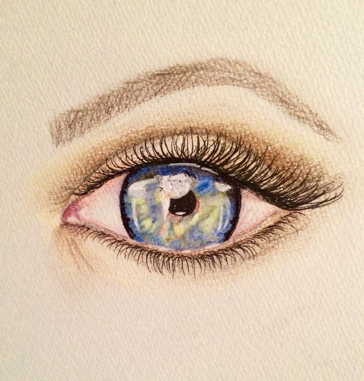 Random eye sketch with coloured pencils