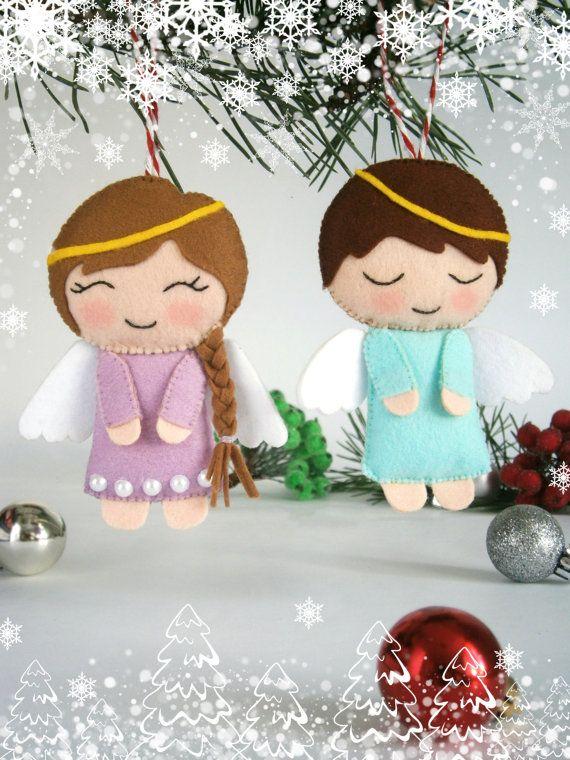Set of two Christmas angel ornament felt New Year by MyMagicFelt