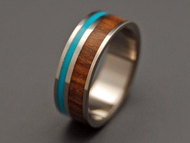 Titanium Turquoise & Wood Wedding Ring- I'm posting this because not only