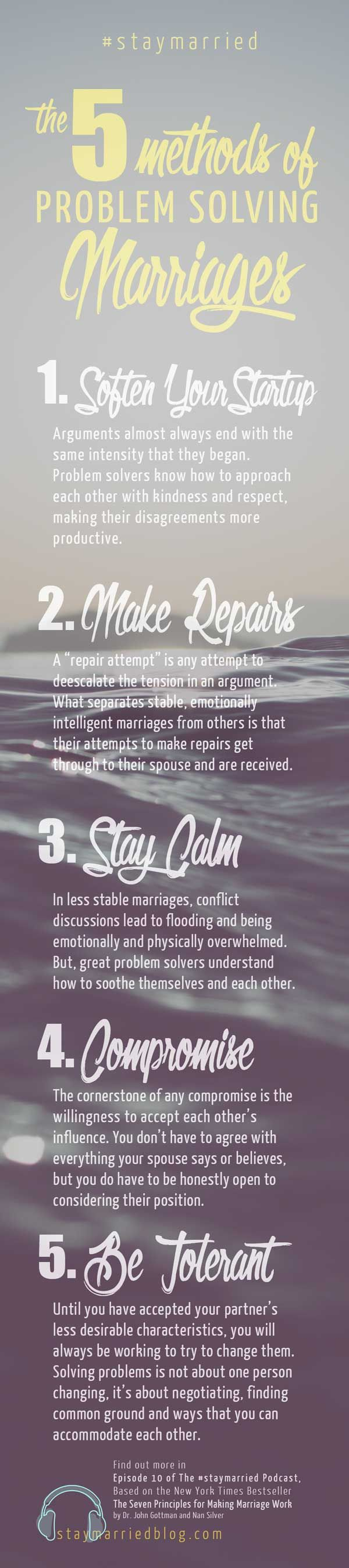 5 Methods of Problem Solving Tall - Episode 10 of The #staymarried Podcast, a series based on The Seven Principles for Making Marriage Work by Dr. John Gottman