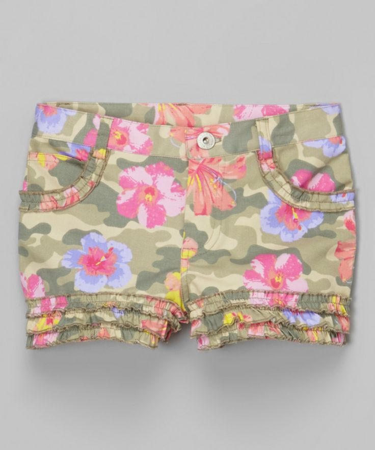 Camo Floral Shorts - Girls by Biscotti & Kate Mack #zulily #zulilyfinds