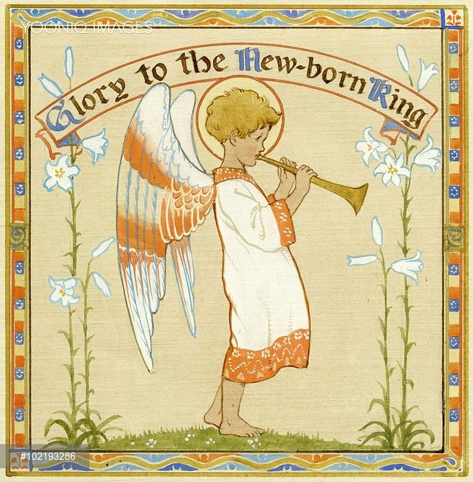 'Glory to the New-born King' - Angel with trumpet. Christmas card.