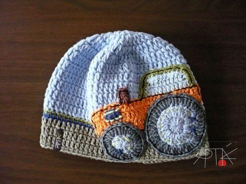 Háčkovaná čepice barevná, traktor / Zboží prodejce Hana-Vana | Fler.cz