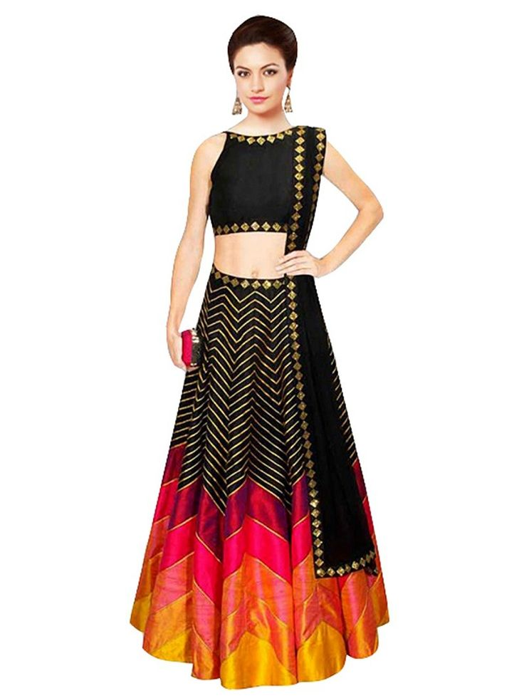 Black Art Silk Printed Un-Stitched Lehenga Choli