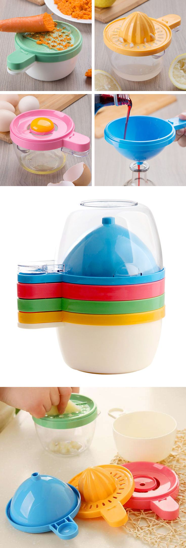 4-in-1 kitchen tool - grater, juicer, egg separator and funnel! Space-saving and clever! #product_design