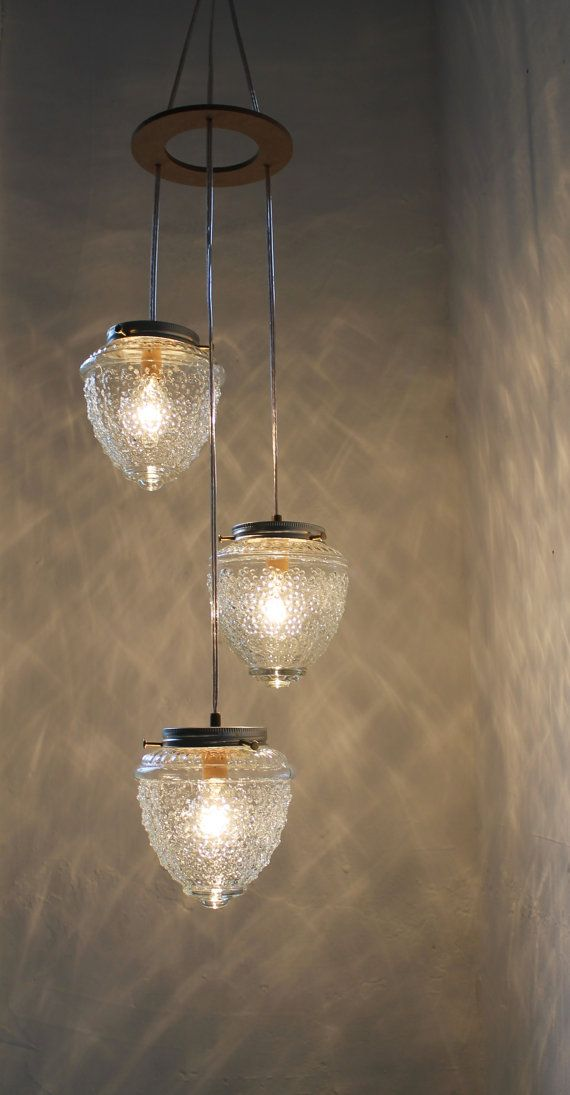 Falling Acorns - Upcycled Cascading Drop Chandelier Pendant Swag Light - Raspberry Shaped Glass Shades - BootsNGus Lamps via Etsy