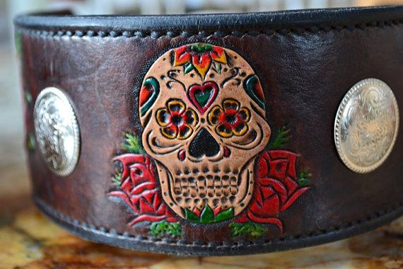 2.5 inch Candy Skull and Roses leather tooled by TMPLeatherworks