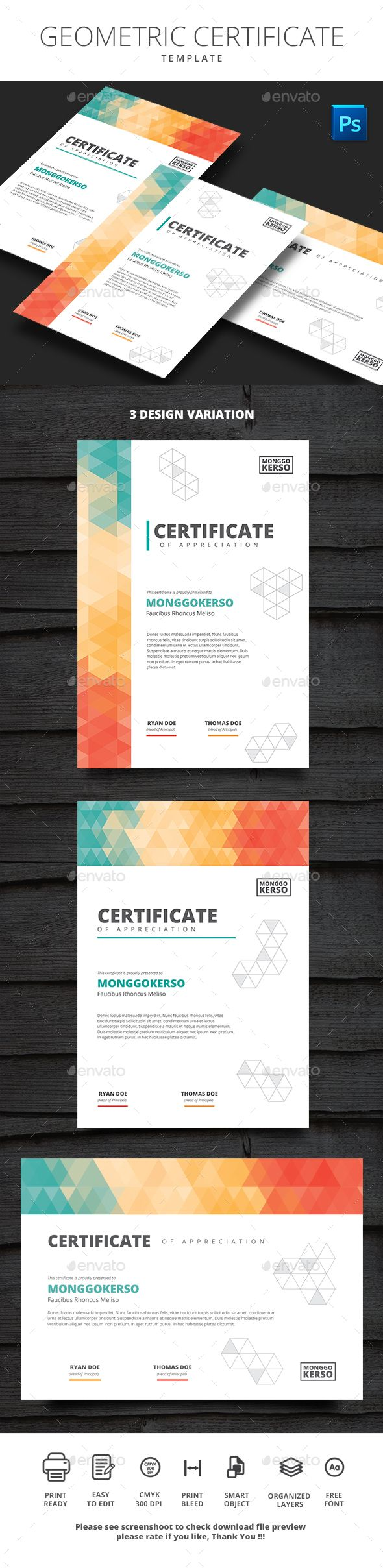 Geometric Certificate — Photoshop PSD #certificate template #210x297 • Download ➝ https://graphicriver.net/item/geometric-certificate/19696319?ref=pxcr