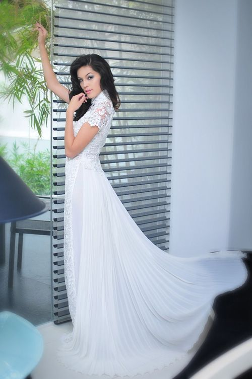 combination of an ao dai and a white wedding gown