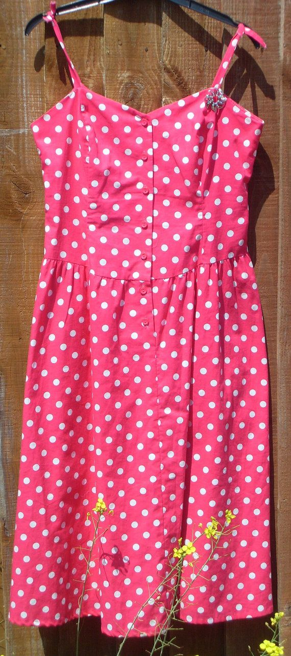 Pink and White Polka Dot Vintage Summer Dress  So by BambleVintage, £22.80