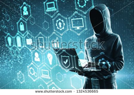 Stock Photo: Hacker using laptop with digital business interface hologram. Criminal and technology concept. Double exposure