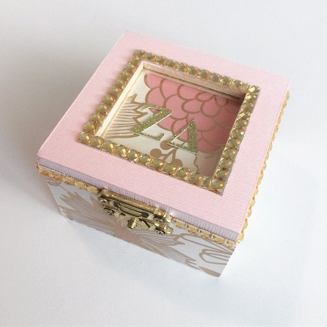 Sorority Pin box, Gold, pin, white, floral, Handmade and sold on Etsy