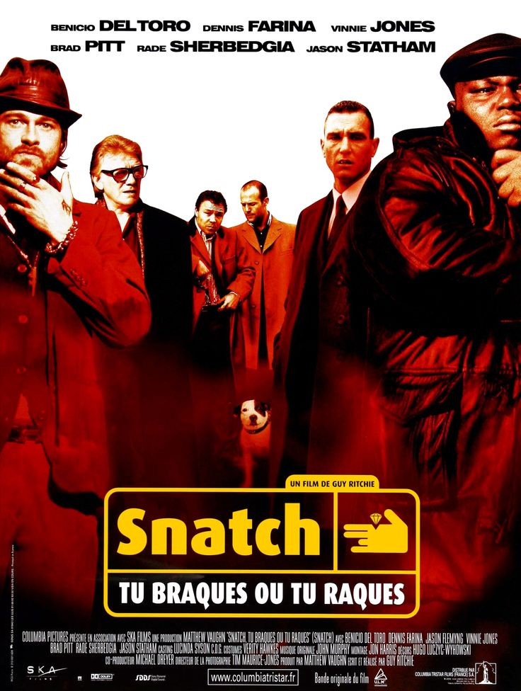 snatch by guy ritchie 1 noun - slang term for the vagina 2 verb - to steal (see boost or jack) 3 film - a 2000 crime film by british writer-director guy ritchie 4.