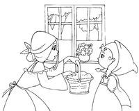 Coloring Red Riding Hood and mom vector Royalty Free Stock Photo