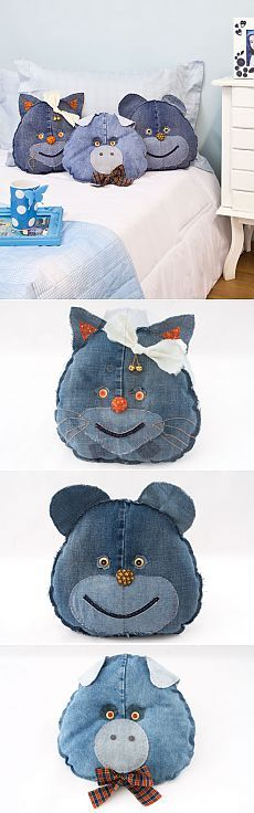 jouets pour bébé Oreiller sur de vieux jeans.  Master class