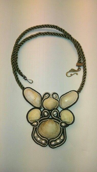 Soutache+ sea shells + river pearls