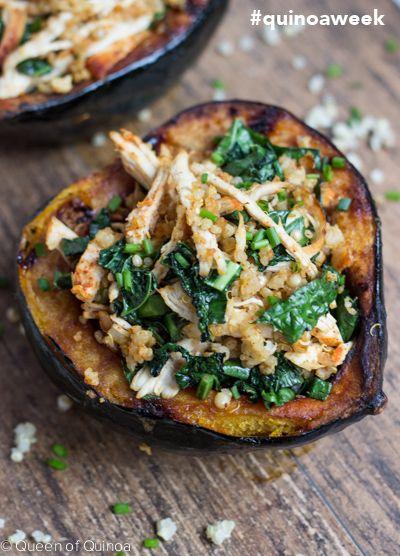 Chicken, spinach  & Quinoa Stuffed acorn squash.#food #recipe