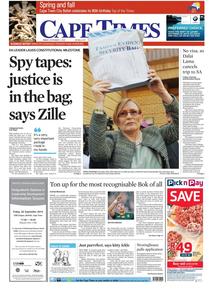 News making headlines: Spy tapes: Justice in the bag says Zille