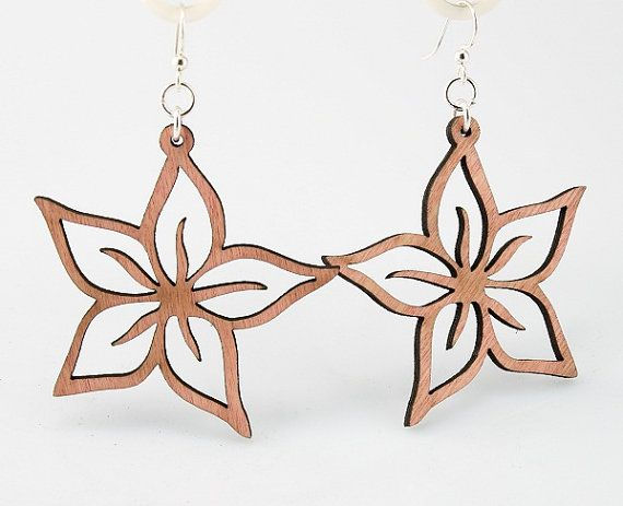 Plumerias  Laser Cut Earrings from Reforested by GreenTreeJewelry $12.95