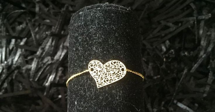 Golden plated chain bracelet with relief heart, chain bracelet, heart bracelet by pacforme on Etsy