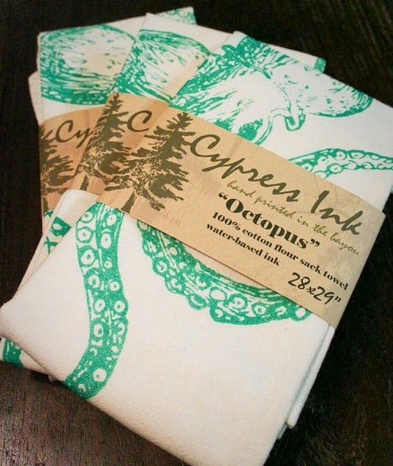 Green Octopus Kitchen Towel by CypressInk on Etsy, $8.00 - perfect housewarming gifts!!!!!