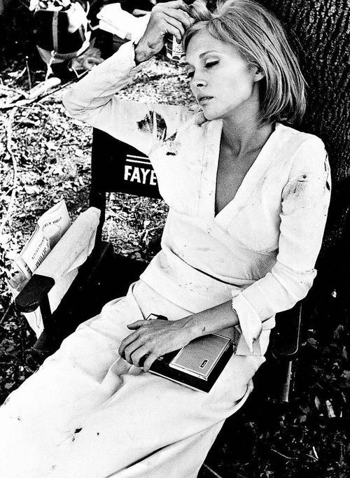 Faye Dunaway on the set of 'Bonnie and Clyde', 1967.