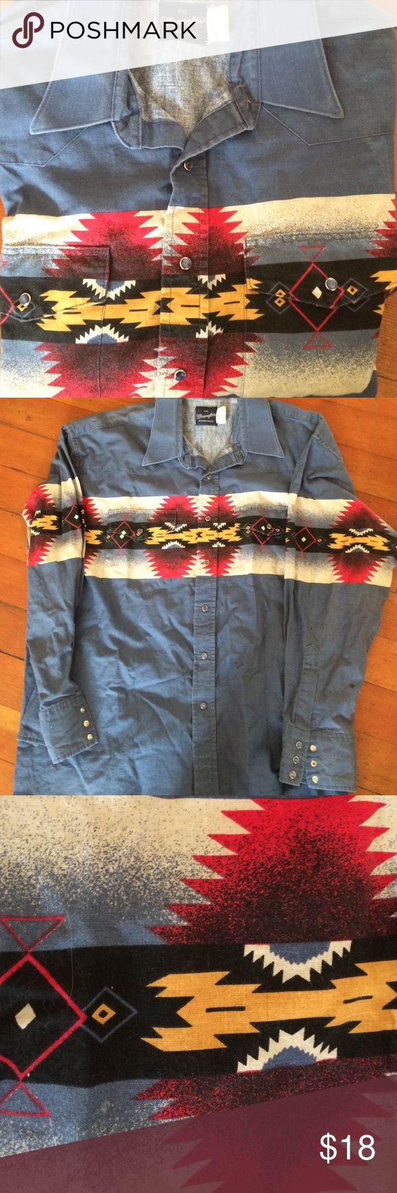 Vintage Western Wrangler Shirt One of a kind vintage western shirt by Wrangler. Nice button up shirt with tribal pattern. No signs of wear. Originally made for men, but a girl can definitely rock it Wrangler Tops Button Down Shirts