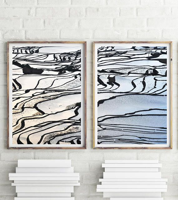 Set Of 2 Prints Rice Terraces Tropical Landscape Bali