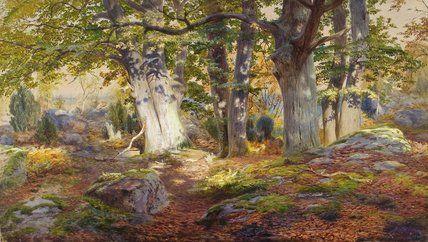 """""""Automne Lumière du soleil après la pluie"""" de Andrew Maccallum (1821-1902, United Kingdom)"""