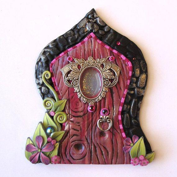 Pink Aladdin Fairy Door Pixie Portal by Claybykim on Etsy, $24.00