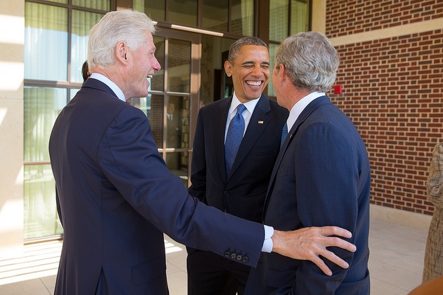 Presidents Bill Clinton, Barack Obama, and George W. Bush chat at the Dedication of the George W. Bush Presidential Center in Dallas, Texas on April 25, 2013. Photo by Paul Morse